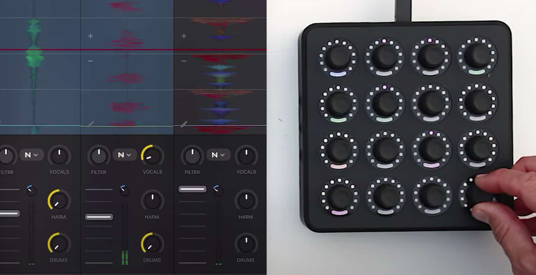 Control de separación de varillas Neural Mix con Midi Fighter Twisters + djay 10